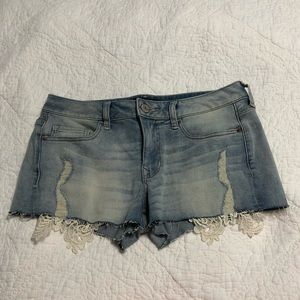 Express distressed blue jean shorts